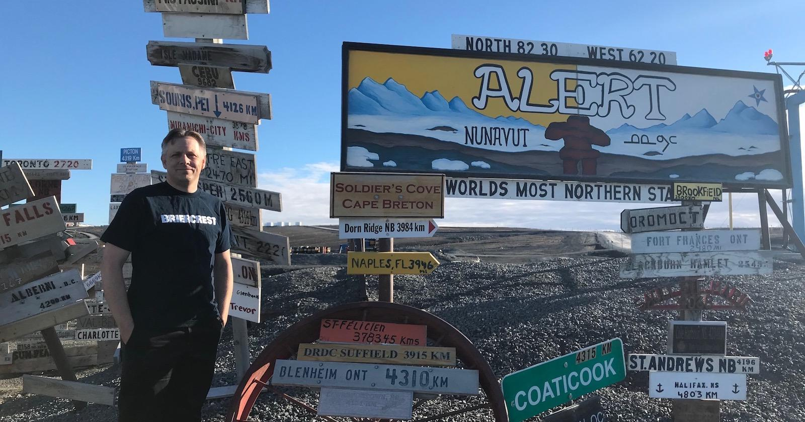 Capt The Rev Eric Davis representing Briercrest at ALERT, a Canadian military outpost in the North Pole.